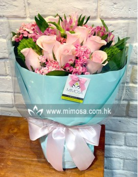 FB201 - 12支粉紅玫瑰花束